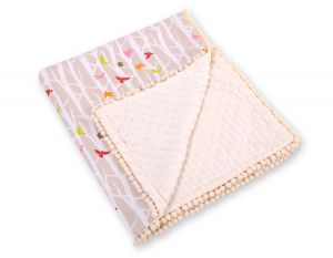 Double-sided blanket minky with pompons -  beige tree