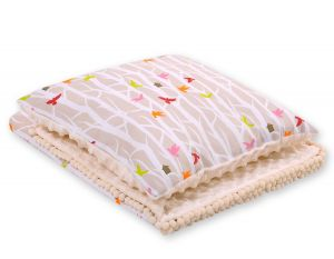 Set: Double-sided blanket minky + pillow- beige trees