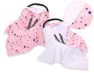 Double-sided car seat blanket - pink-navy blue stars