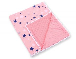 Double-sided blanket minky with pompons - pink-navy blue stars