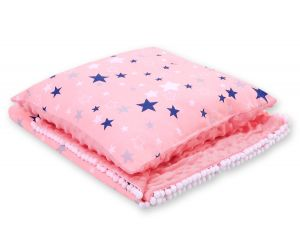 Set: Double-sided blanket minky + pillow- pink-navy blue stars