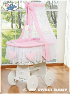 Moses Basket/Wicker crib with drape- Amelie pink