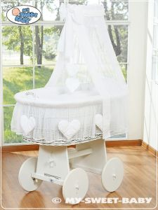 Moses Basket/Wicker crib with drape- Amelie white