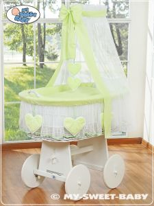 Moses Basket/Wicker crib with drape- Bell Amy green