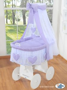 Moses Basket/Wicker crib with drape- Amelie lilac