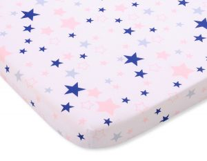 Sheet made of cotton 120x60cm pink-navy blue stars