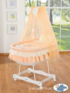 Moses Basket/Wicker crib with drape- Bear with bow peach