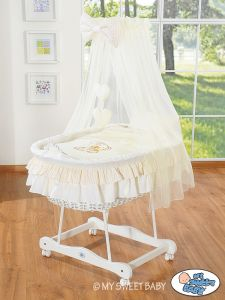 Moses Basket/Wicker crib with drape- Bear with bow cream