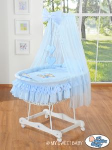 Moses Basket/Wicker crib with drape- Bear with bow blue