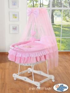 Moses Basket/Wicker crib with drape- Bear with bow pink