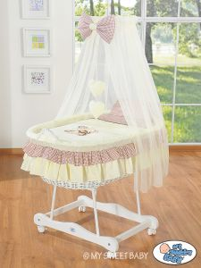 Moses Basket/Wicker crib with drape- Bear with bow brown