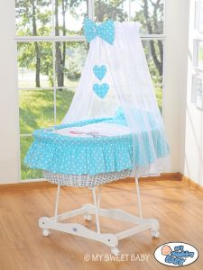 Moses Basket/Wicker crib with drape- Owls Bigi Zibi & Adele turquoise