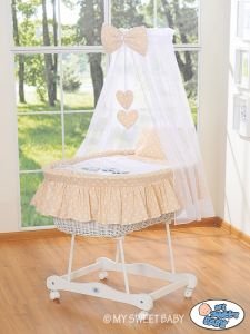 Moses Basket/Wicker crib with drape- Owls Bigi Zibi & Adele beige