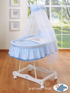 Moses Basket/Wicker crib with drape- Teddy Bear Barnaba blue