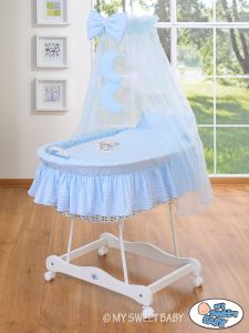 Moses Basket/Wicker crib with drape- Good night blue