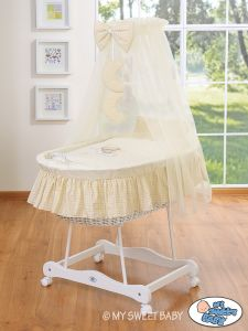Moses Basket/Wicker crib with drape- Good night cream