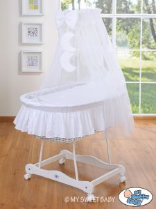 Moses Basket/Wicker crib with drape- Good night white