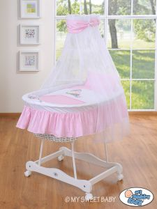 Moses Basket/Wicker crib with drape- Donkey Luca pink