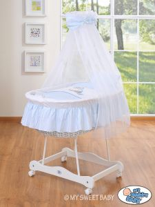Moses Basket/Wicker crib with drape- Donkey Luca blau