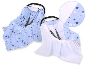 Double-sided car seat blanket - blue stars