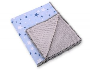 Double-sided blanket minky with pompons -  blue stars