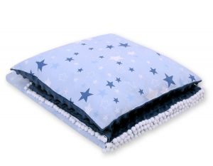 Set: Double-sided blanket minky + pillow- -navy blue stars/gray