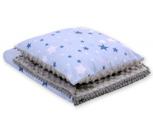 Set: Double-sided blanket minky + pillow- navy blue stars/gray