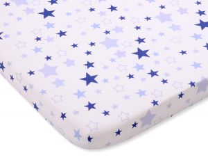 Sheet made of cotton 120x60cm white- blue stars