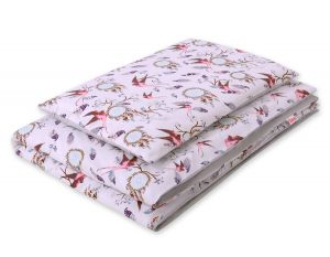 Bedding set 2pcs 100x135 Mini - swallows pink