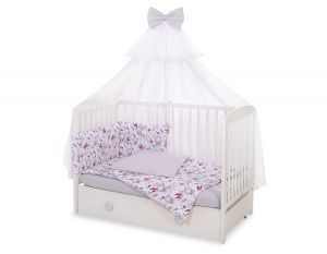 Bedding set 5-pcs with mosquito-net -  swallows pink