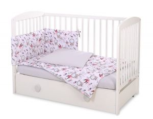 Bedding set 3-pcs - swallows pink