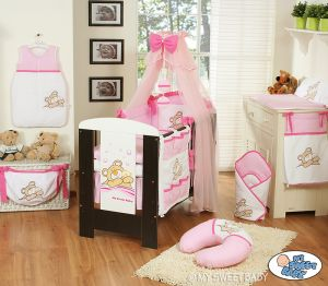 Bedding set 11-pcs with mosquito-net (S60)- Teddy Bear Barnaba pink