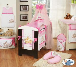 Bedding set 11-pcs with moskito net (L70)- Teddy Bear Barnaba pink