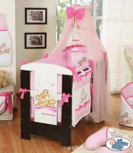 Bedding set 5-pcs with mosquito-net (L60)- Teddy Bear Barnaba pink