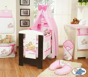 Bedding set 11-pcs with canopy (S70)- Teddy Bear Barnaba pink