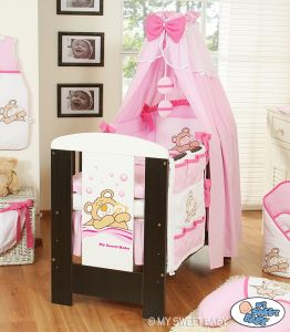 Bedding set 5-pcs with canopy (S60)- Teddy Bear Barnaba pink