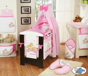 Bedding set 11-pcs with canopy (L70)- Teddy Bear Barnaba pink