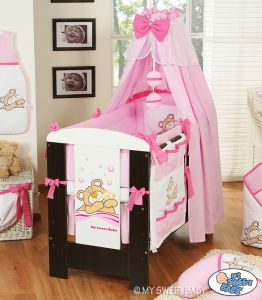 Bedding set 5-pcs with canopy (L70)- Teddy Bear Barnaba pink