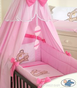 Bedding set 3-pcs (L60)- Teddy Bear Barnaba pink