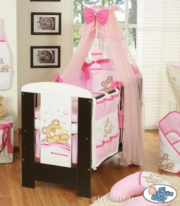 Bedding set 7-pcs with mosquito net (S70)- Teddy Bear Barnaba pink