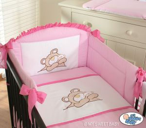 Bedding set 3-pcs (S70)- Teddy Bear pink