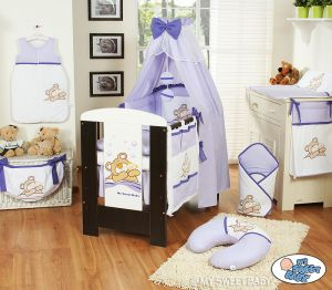 Bedding set 11-pcs with canopy (S60)- Teddy Bear Barnaba lilac