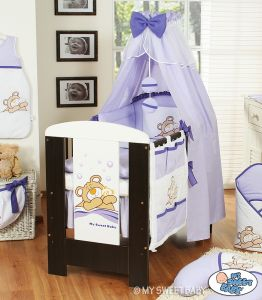 Bedding set 5-pcs with canopy (S60)- Teddy Bear Barnaba lilac