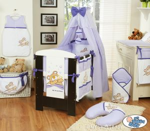 Bedding set 11-pcs with canopy (L70)- Teddy Bear Barnaba lilac