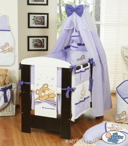 Bedding set 5-pcs with canopy (L70)- Teddy Bear Barnaba lilac