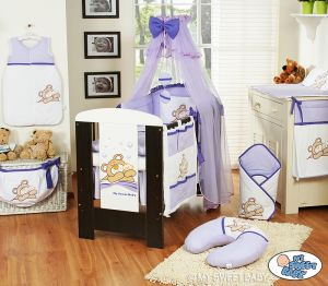 Bedding set 11-pcs with mosquito-net (S60)- Teddy Bear Barnaba lilac