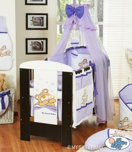 Bedding set 7-pcs with mosquito-net (S70)- Teddy Bear Barnaba lilac