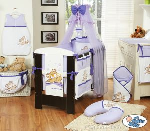 Bedding set 11-pcs with mosquito-net (L70)- Teddy Bear Barnaba lilac