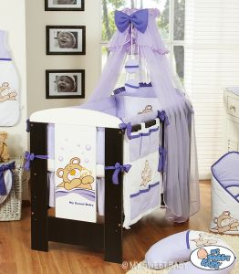 Bedding set 5-pcs with mosquito-net (L70)- Teddy Bear Barnaba lilac