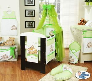 Bedding set 11-pcs with mosquito-net (S60)- Teddy Bear Barnaba green